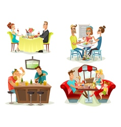 Restaurant cafe bar people 4 icons vector