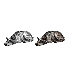 Sleepy lonely dog vector image vector image