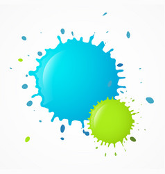 splashes - splatters blue and green blots vector image