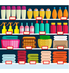 Store shelves with various products vector