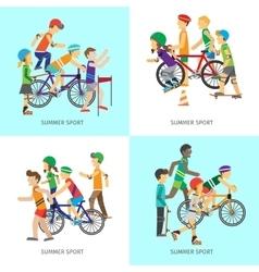 Summer Sport Concepts in Flat Design vector image vector image