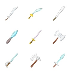Sword knife dagger icons set cartoon style vector