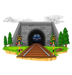 train riding on railroad vector image vector image