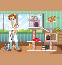 Vet working at animal hospital with many cats vector