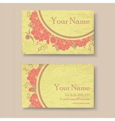 Vintage floral business card vector