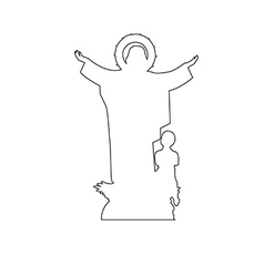 Virgin mary statue path on the white background vector