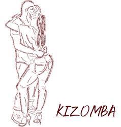 Young couple dancing kizomba draw vector