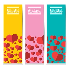 Set Of Three Colorful Red Hearts Vertical Banners vector image