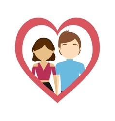 couple love frame heart sweet feelings vector image