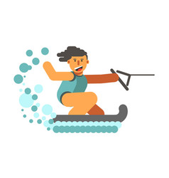 young human on water skiing holding black halyard vector image