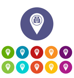map pin pointer with cafe or restaurant sign icons vector image