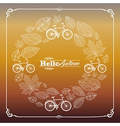 Vintage hello autumn text leaves and bikes vector