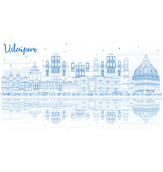 Outline udaipur india skyline with blue buildings vector