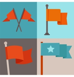 Set of flag design elements vector