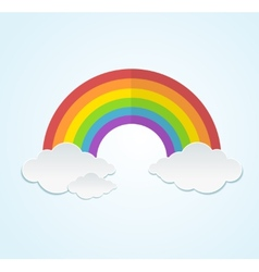 Rainbow and clouds in flat style vector