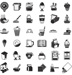 Breakfast food black icons collection vector