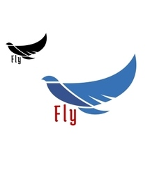 Silhouette of flying blue bird vector