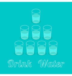 Drink eight glasses of water pyramid set healthy vector