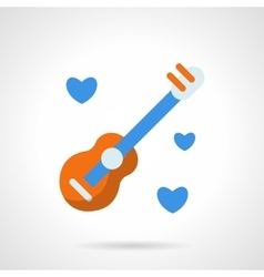 Guitar with hearts flat color icon vector