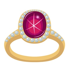Star ruby golden ring vector