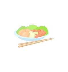 Traditional vietnamese food with chopsticks icon vector