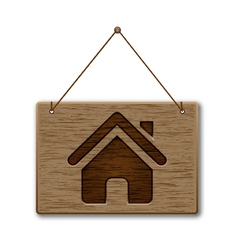 Wooden signpost on the home icon vector