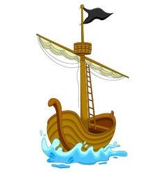 Cute pirate ship cartoon vector