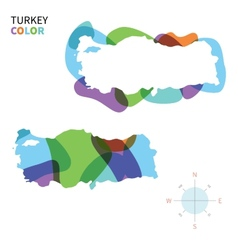 Abstract color map of turkey vector
