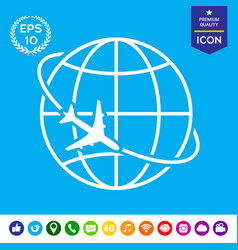 Airplane fly around the planet earth logo icon vector
