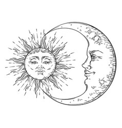 antique hand drawn art sun and crescent moon vector image vector image