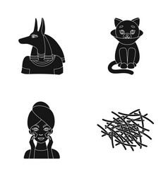 Anubis cat and other web icon in black style vector