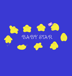 Baby star characters cartoon in many action vector