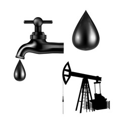 Black tap with oil drop petroleum rig silhouette vector