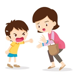 Boy angry shouting with mother vector