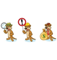 Brown meerkat mascot with money vector