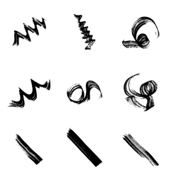 Collection of grungy hand-drawn spirals lines and vector image