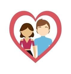 Couple love frame heart sweet feelings vector