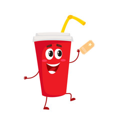 cute and funny soda drink character with smiling vector image vector image