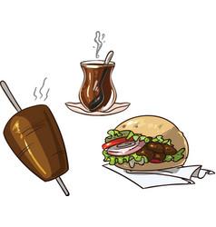 Doner kebab set with turkish tea kebab skewer and vector