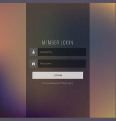 Elegant dark login ui template design vector