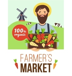 Farmers Market Organic Products Flat Poster vector image vector image