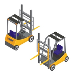 Forklift transport isometric transportation cargo vector
