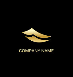 gold paper abstract business logo vector image vector image