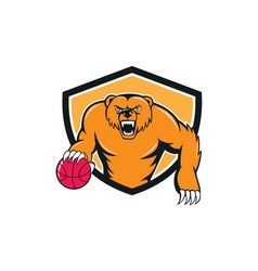 Grizzly bear angry dribbling basketball shield vector