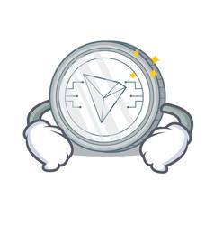 Hand on waist tron coin character cartoon vector