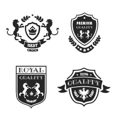 Heraldic elements black emblems set premium vector image vector image
