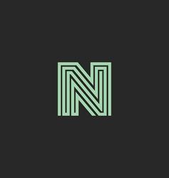 Hipster initial n letter logo monogram green vector