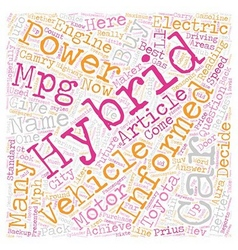 Hybrid cars and our future text background vector