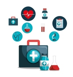 kit icons healthcare medicine design isolated vector image