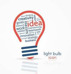light bulb idea icon with word cloud vector image